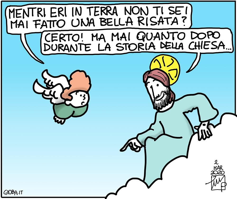 La Chiesa che ride: una vignetta di Gioba
